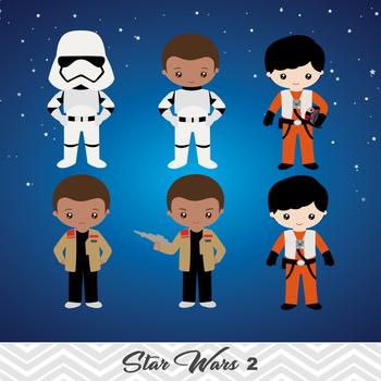 NEW Star Wars Digital Clip Art, BB8, Rey, Finn, Kylo Ren, 0227