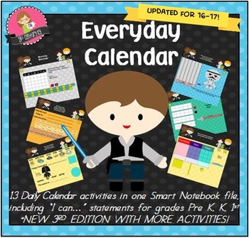 Everyday Interactive Calendar & Organizers for SMART Board PK K 1st STARRY THEME