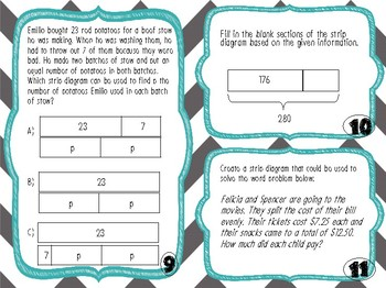 NEW! Strip Diagram Activity Pack: task cards, games, matching activity for 3-5