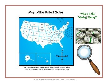 THE CASE OF THE MISSING MONEY • STATE CAPITALS/MAP READING