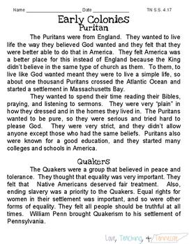 NEW Tennessee Social Studies - Puritan & Quaker 4.17