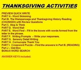 Thanksgiving Activities - prev. activity, chunked reading, puzzles, etc. - 6 pgs
