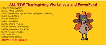 NEW Thanksgiving Activity Packet Power Point  for Worksheet  ALL DIFFERENT Act