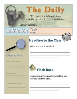 The Daily: Weekly Student Self Assessment Newsletter for Parents