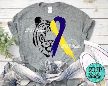 NEW!! Tiger Face with Down Syndrome Awareness Ribbon 483