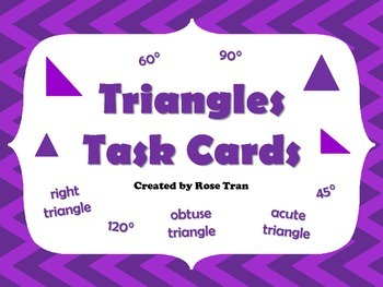 NEW  Triangles Task Cards (aligned to TEKS 4.6C & CC 4.G.A.1, 4.G.A.2)