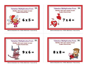 VALENTINE MULTIPLICATION FACTS • GRADE 3