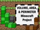 NEW  Volume, Area, & Perimeter Minecraft Math Project