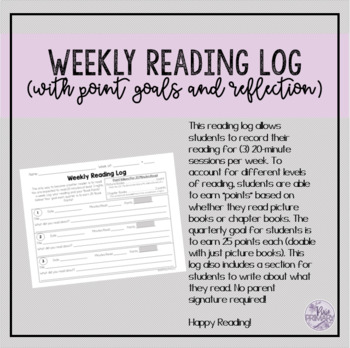 NEW Weekly Reading Log