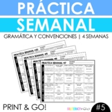 NEW Weekly Spanish Grammar Practice for 4 Weeks with 80 Gr