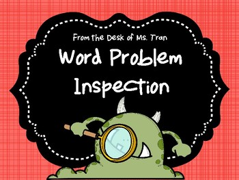 NEW  Word Problem Inspection Activity  Help your students inspect math problems!