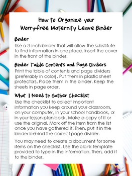 NEW  Worry-free while on Maternity Leave Binder GET ORGANIZED!