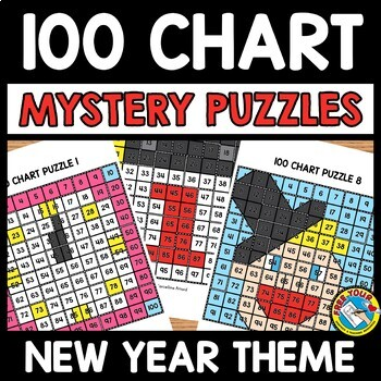 NEW YEAR ACTIVITY KINDERGARTEN (100 CHART MYSTERY PICTURE PUZZLES)