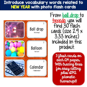 NEW YEAR CELEBRATION Vocabulary Words: Flash Cards and Word Puzzles