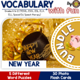 New Year Activities 5 Word Puzzles and 30 Photo Flash Cards BUNDLE