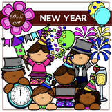 NEW YEAR Digital Clipart (color and black&white)