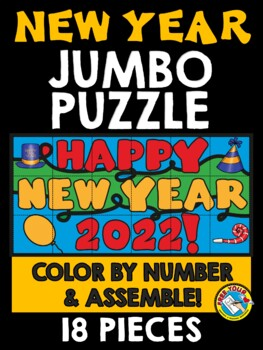 NEW YEARS 2018 ACTIVITY KINDERGARTEN (COLOR BY NUMBER JUMBO PUZZLE)