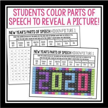 NEW YEARS 2018 PARTS OF SPEECH: Hidden Mystery Picture by Presto Plans