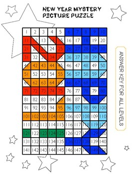 NEW YEAR number chart mystery picture - 5 levels from place value to mental math