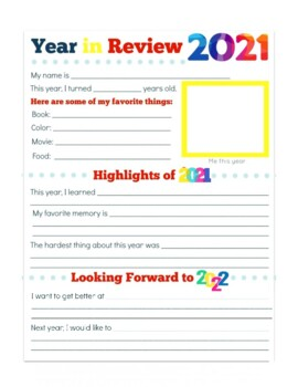 NEW YEARS 2018 ACTIVITIES, BUNDLE 13 PAGES, 2017 YEAR IN REVIEW, 2018 ACTIVITIES