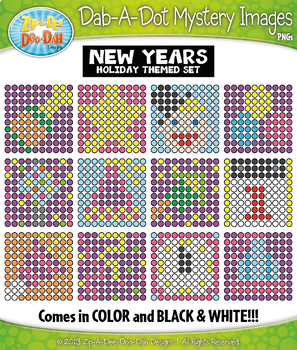 NEW YEARS Dab-A-Dot Mystery Images Clipart {Zip-A-Dee-Doo-Dah Designs}