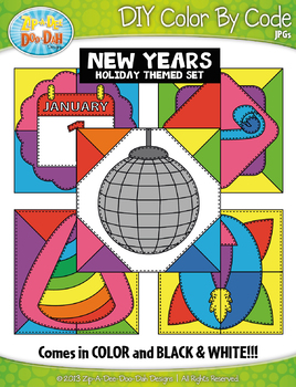 NEW YEARS Quilt Color By Code Clipart {Zip-A-Dee-Doo-Dah Designs}