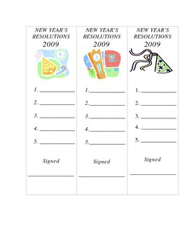 NEW YEAR'S RESOLUTIONS BOOKMARKS 2010