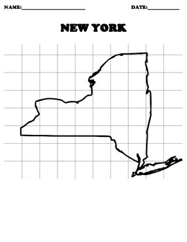 NEW YORK Coordinate Grid Map Blank