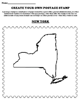 NEW YORK Create your Own Postage Stamp Worksheet