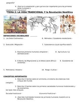 Global History 9th grade (1st Sem) Study Guide Units 1-10 - SPANISH REGENTS