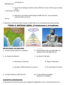 Global History - 9th grade - 1st Semester - Study Guide (Units 1-10) - SPANISH