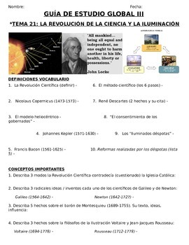Global History - 10th grade - 1st Semester - Study Guide (Units 21-30) - SPANISH
