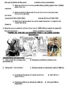 Global History 10th grade (2nd Sem) Study Guide Units 31-40 - SPANISH REGENTS
