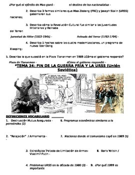 Global History - 10th grade - 2nd Semester - Study Guide (Units 31-40) - SPANISH
