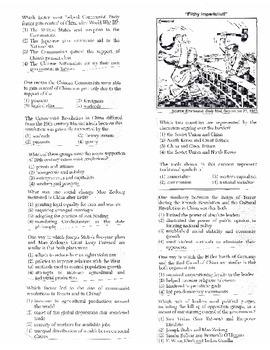 Global History - Multiple Choice Regents Questions Quiz (Unit 33 of 40)