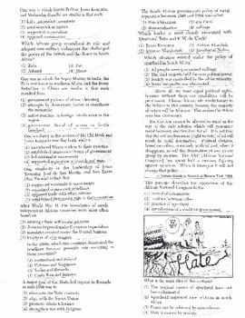 Global History - Multiple Choice Regents Questions Quiz (Unit 35 of 40)