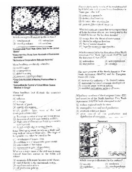 Global History Multiple Choice Quiz Unit 38/40 - REGENTS ALIGNED