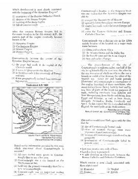 Global History Multiple Choice Quiz Unit 7/40 - REGENTS ALIGNED