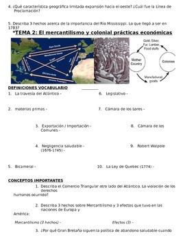 US History - 11th grade - 1st Semester - Study Guide (Units 1-20) - SPANISH