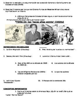 US History 11th grade (2nd Sem) Study Guide Units 21-37 - SPANISH REGENTS