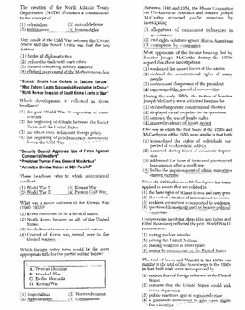 US History - Multiple Choice Regents Questions Quiz (Unit 27 of 37)