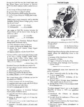 US History Multiple Choice Quiz Unit 32/37 - REGENTS ALIGNED