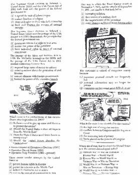 US History Multiple Choice Quiz Unit 36/37 - REGENTS ALIGNED