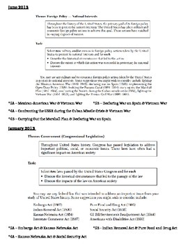 US History Regents Guide - List of Thematic Essay Tasks 2000-2014
