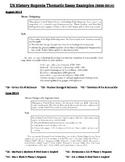 US History - List of Thematic Essay Tasks on Regents Exams 2000-2014