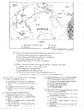 Global History Multiple Choice Quiz - 9th grade (1st sem) Final (Units 6-10)