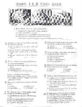 Global History Multiple Choice Quiz - 9th grade Final Exam (Units 1-20)