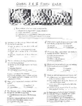 Global History - Multiple Choice Quiz - 9th grade Final Exam (Units 1-20)
