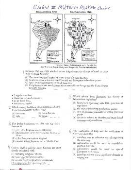 Global History Multiple Choice Quiz - 10th grade (1st sem)