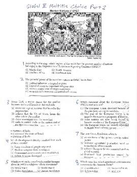 Global History Multiple Choice Quiz - 10th grade (2nd sem)